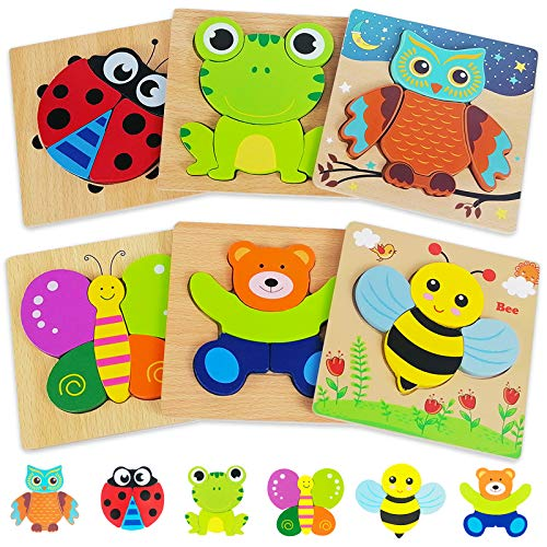 Wooden Puzzles Toddler Toys Gifts for 1 2 3 Year Old Boys Girls, 6 Pack Animal Jigsaw Puzzles Montessori Toys, Learning Educational Christmas Birthday Gifts for Girls Boys Ages 1-3