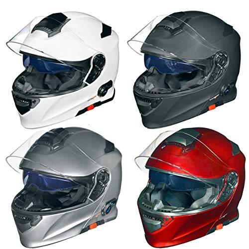 RS-983 Bluetooth Klapphelm Motorradhelm Conzept Motorrad Modular Helm rueger, Größe:M (57-58), Farbe:Matt Weiß