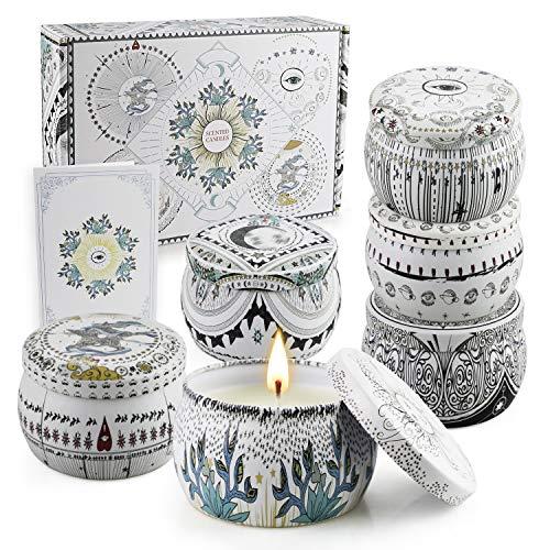 Set di 6 candele profumate per aromaterapia a casa con lavanda antistress e salvia Candela profumata alla cera di soia con coperchio portatile per fidanzata - 5,65 * 6 once in scatola