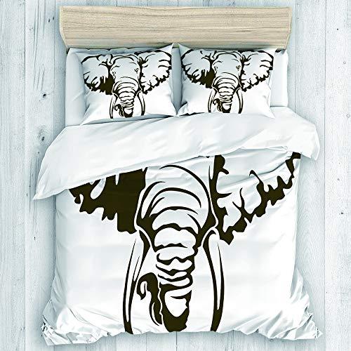 DAHALLAR Bedding Juego de Funda de Edredón,Elefante Africano Grande Tatuaje Dumbo Orejas Colmillos,Microfibra NO LLENAR,(Cama 200x200 + Almohada 50X80),Double
