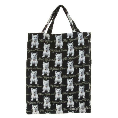 Bolsa para compras reutilizable Signare para mujer en tela de tapiz bolsa eco (Westie)