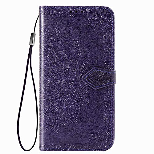 Fertuo Case for Asus Zenfone 7 ZS670KS, Premium Leather Flip Wallet Case with [Card Slots] [Kickstand] [Hand Strap] Mandala Flower Embossed Shockproof Cover Case for Asus Zenfone 7 ZS670KS, Purple