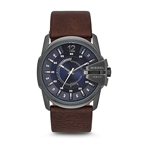 Diesel Men's 51mm Master Chief Quartz Stainless Steel and Leather Watch, Color: Gunmetal, Brown (Model: DZ1618)