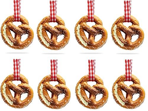 Party Deko Schmuck Oktoberfest 2021 | Bayerische Mini Brezel Dekoration Set mit Anhänger zum Aufhängen | Laugen-Brezeln für Tischdeko, Streudeko zum hängen | 8 Stück