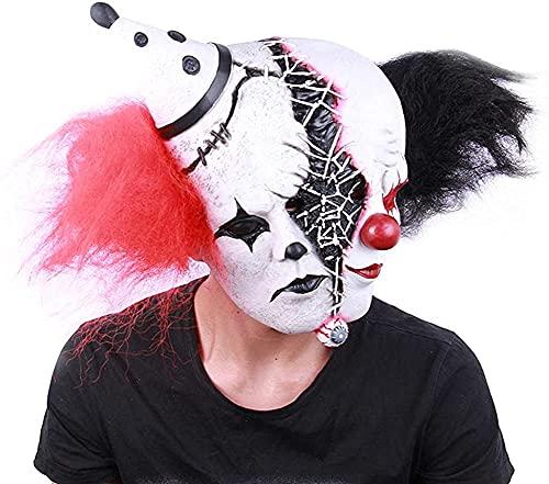 Máscara de Coringa assustadora com dupla personalidade, máscara de palhaço do mal para cosplay de Halloween, palhaço com esquizofrenia - meio triste/meio estranho