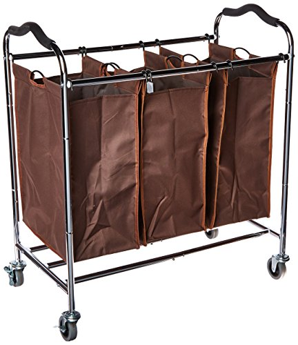BBSHOPING 68574654465 Laundry Hamper Sorter Heavy Duty Rolling Sorting Cart with 3 Compartment Bags, 4 Casters and Anti-Slip Handles, Brown