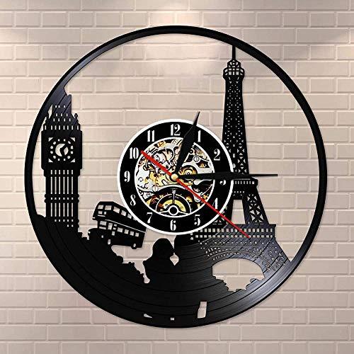 WZCXYX Torre Big Ben Tower Unique Travel Paris London Travel Themed Vinilo Reloj de Pared Reloj de Pared Landmark Wall Art Reloj Retro