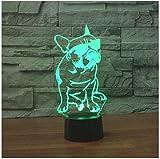 3D Illusion Bulldog Frances Lámpara luces de la noche ajustable 7 colores LED Creative Interruptor táctil estéreo visual atmósfera mesa regalo para Navidad