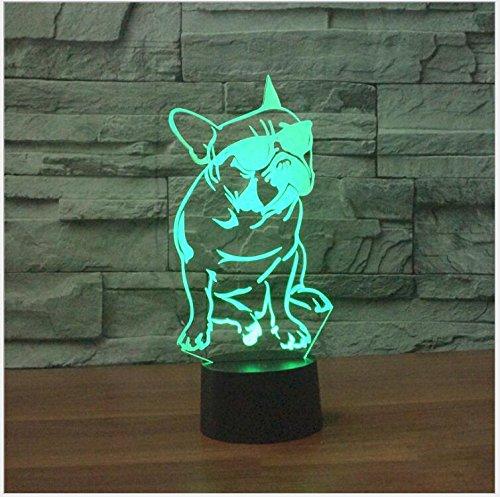 3D französische bulldogge Optische Illusions-Lampen, Tolle 7 Farbwechsel Acryl berühren Tabelle Schreibtisch-Nachtlicht mit USB-Kabel für Kinder Schlafzimmer Geburtstagsgeschenke Geschenk