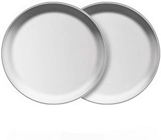 AIYoo Stainless Steel Plates 2 Set Metal Feeding Dinner Dishes for Kids Children 10 Inch Dinner Plates Great for Self Feed...