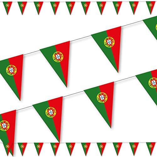 DH-Konzept 3,5m Wimpelkette * Portugal * als Deko für EM 2020-Party und Geburtstag | mit 10 Wimpel | portugiesisch Länder Fahnen WM 2922 Mottoparty Girlande Dekoration