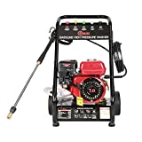 Petrol Pressure Washer Jet Washer Highest Powered for Duty Cleaning Jobs, 7.0HP Gasoline Engine, with LB-P150 Aluminum Pump & Thermal Relief Valve & 8 Inch Solide Wheels & 8 Meters High Pressure Hose