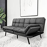Futon Sofa Bed, Modern Stylish Convertible Futon Sleeper Couch Daybed with Adjustable Armrests for Compact Living Space, Dorm, Studio, Apartment, Office, Studio, Reception, Dark Gray