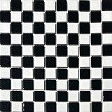 Square Checkered Tile Black & White Porcelain Mosaic Shiny Look 1-1/8' X 1-1/8'