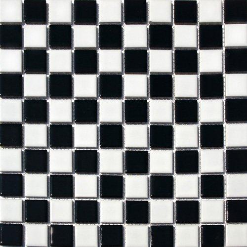 Square Checkered Tile Black White Porcelain Mosaic Shiny Look 1 1 8 X 1 1 8