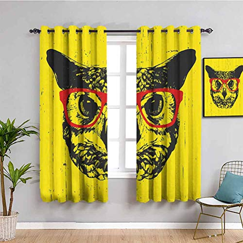 Modern Printed Soundproof Privacy Window Curtains Owl with Glasses Portrait Hipster Nocturnal Animal Grunge Humor Graphic Protective Furniture W84 x L84 Inch Dark Grey Yellow Red