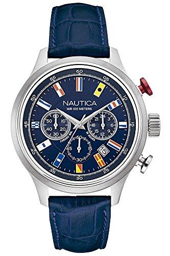 Nautica Orologio Cronografo Quarzo Uomo con Cinturino in Pelle NAI16520G