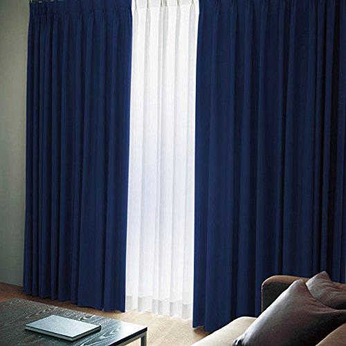 [窓美人] 洗えるカーテンセット [エール] 遮光性カーテン 2枚 + UV カット ミラーレース 2枚 + カーテンフック取り付け済み ロイヤルブルー 幅100×丈178(176)cm 4枚セット