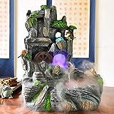 Fuente Fengshui de ruedas Lucky Decoración Resina montaña de piedra artificial fuente de escritorio y del tanque de los pescados con la bomba de agua Adecuado for sala de estar dormitorio Oficina Terr