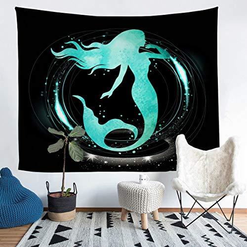 Loussiesd Tapiz de sirena para colgar en la pared con temática marina para niños, adolescentes, elegante, turquesa, para pared, manta transpirable, para criatura Sealife, manta de cama, 152 x 201