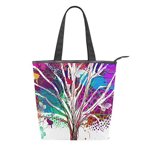 Tree of Life Bolso de Lona Colorido, para Mujer, para Pintar Plantas, para Escuela, Libro, para Llevar al Hombro, para IR de Compras, a la Playa, Viajes, al Gimnasio, Uso Diario