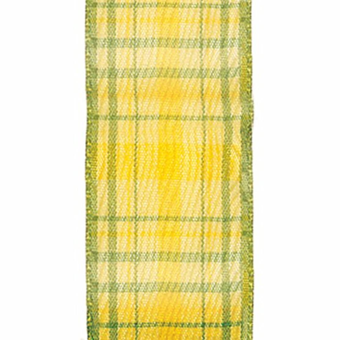 Offray Wired Edge Duncan Craft Ribbon, 1 1/2-Inch x 9-Feet, Yellow & Green