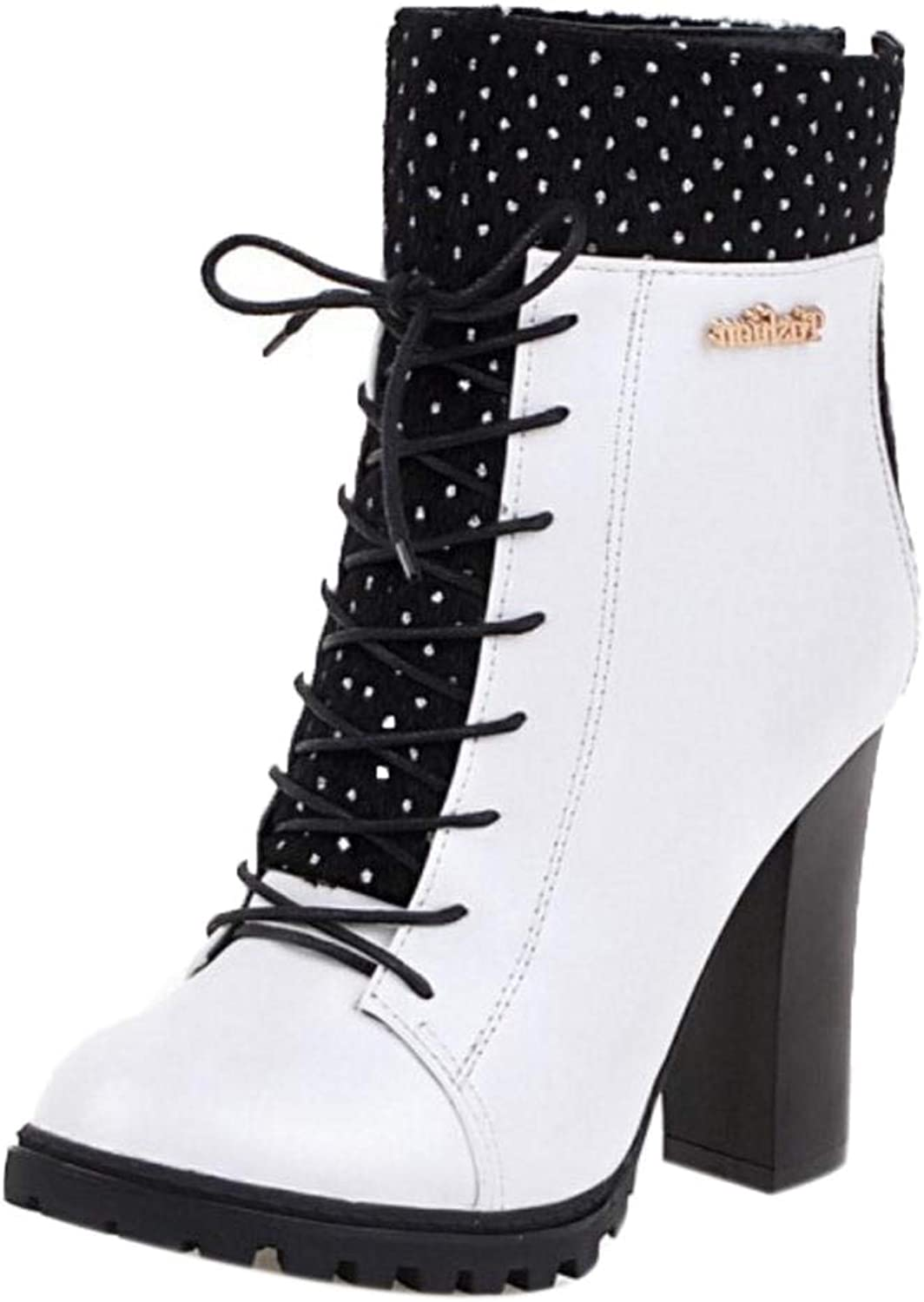 AicciAizzi Women High Heel Ankle Boots Lace