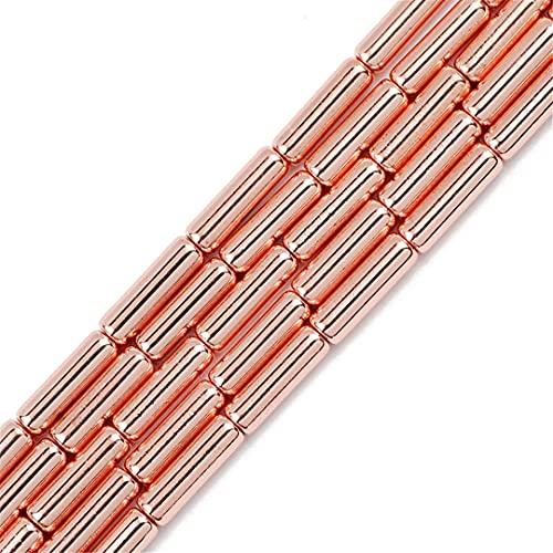 Oro plata cilindro largo hematita piedra natural 13x4 mm redondo espaciador cuentas sueltas para hacer joyas DIY pulsera oro rosa 13x4mm 30pcs