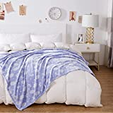 White Clouds Blue Throw Blanket, Travel Fleece Super Soft Fuzzy Light Weight Luxurious Cozy Warm Microfiber 50 × 60 Inches Decoration Blanket for Couch Sofa Bed Chair