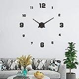 UBaymax Relojes de Pared Pegatina,Relojes Modernos DIY,Reloj de Pared Adhesivo Reloj de Etiqueta de Pared Decoración,llenado Pared Vacía 3D Reloj, Ideal para Oficina Hotel Restaurante(Negro)