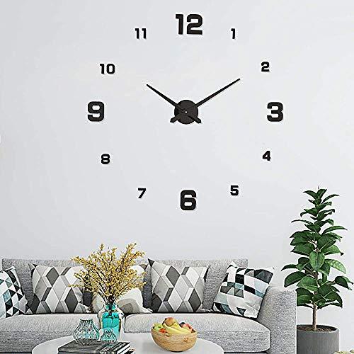 UBAYMAX Grande Horloge Murale 3D Silencieuse, Pendule Murale Moderne Design, Métallique sans Cadre Minimaliste Décoration Adhesif Amovible DIY Digitale Geante Aiguilles Salon Horloge Domicile Noir