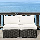 GDY Outdoor Patio Furniture Sets 2/3/5/7/12 Pieces PE Rattan Wicker Sectional Sofa Sets with Pillows & Cushions (2 Pieces, White)