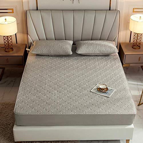 haiba Sábanas bajeras de algodón para cama individual, de lujo, suave satén, sábana bajera, 150 x 200 + 25 cm