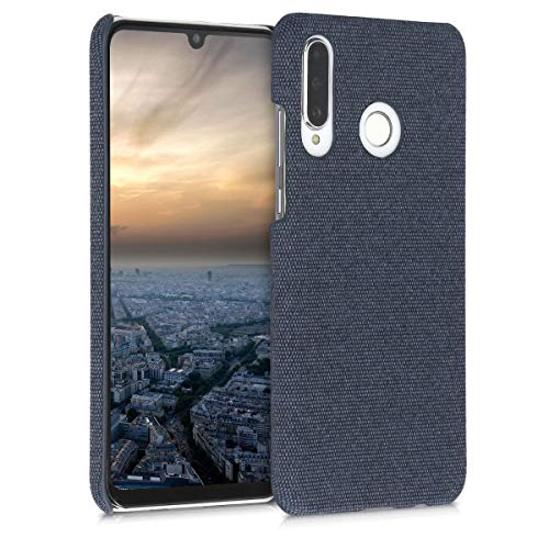 kwmobile Hülle kompatibel mit Huawei P30 Lite - Stoff Cover Handyhülle - Backcover Schutzhülle in Dunkelblau