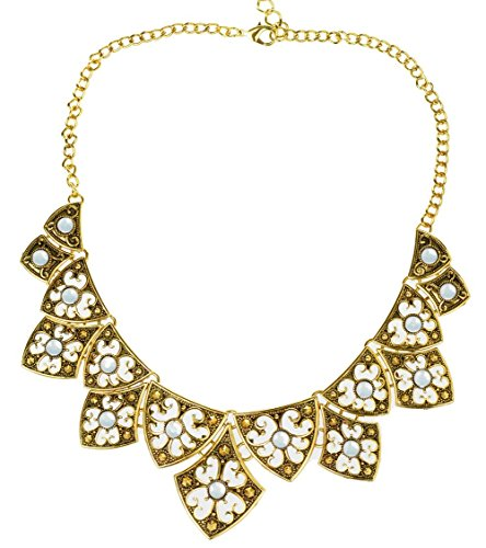 HONEYJOY Vintage Style Tibet Silver Tribal Rhinestone Pendant Chain Bib Necklace (Gold)