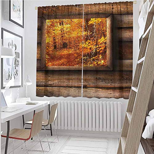 Fall All season insulation Fall Foliage View from Square Shaped Wooden Window inside Cottage Rustic Life Photo Noise reduction curtain panel living room W63 x L72 Inch Orange Brown