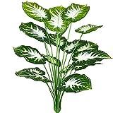 AIVORIUY Plantas Artificiales Hoja de Palmera Fake para Exterior Interior, Verde Artificial Monstera Deliciosa Árbol Ramas Falso Plastic Greenery Tropical Arbustos Decoracion para Macetas Sala Casa
