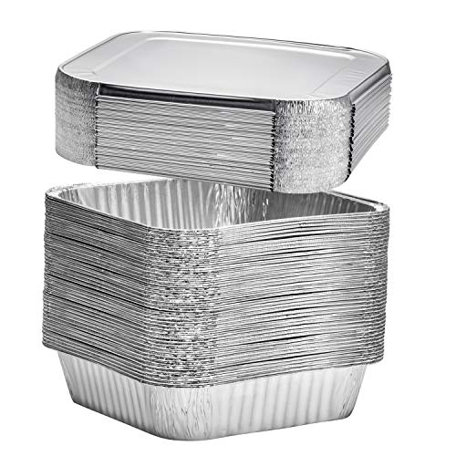 (10 Count) 8' Square Disposable Aluminum Cake Pans - Foil Pans perfect for baking cakes, roasting, homemade breads | 8 x 8 x 2 in With Flat Lids