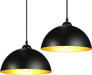 Lot de 2 Suspension Luminaire Industrielle, E27 Lustre Plafonnier Vintage en Métal, Diamètre : 30 cm, Longueur de câble Aj...