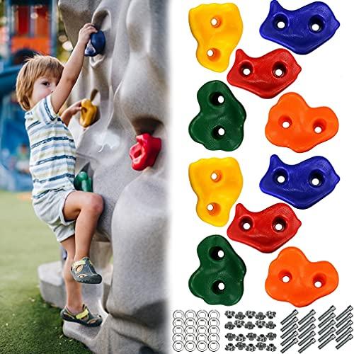 Dripex Klettergriffe Kinder Set, 10 Stück bunt Klettersteine, für Kletterwand Spielturm Outdoor Indoor, belastbar bis 200 kg, mit 20 Schrauben