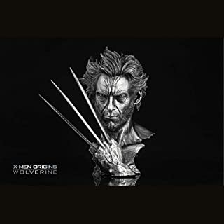 HNBY X-Men Wolverine Hugh Jackman Imitation Copper Imitation Iron Statue Model Movie Character Bust 30cm Ornament statue ( Color : Silver )