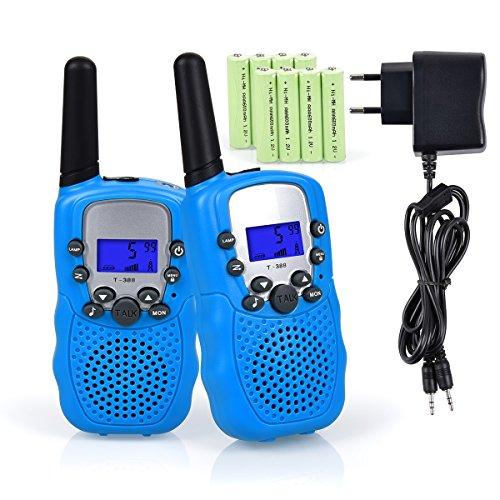 Funkprofi Walkie Talkie Set für Kids, 388 Funkgerät für Kinder mit Wiederaufladbarer Akkus, Hobbyfunker 8 Kanal PMR 446 Reichweite bis 2 – 3 km (2er-Set) Blau