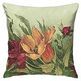 Funda de cojín clásica de rosas y tulipanes de color caqui botánico, funda de almohada suave y cómoda para habitación, sofá, silla, 30,5 x 30,5 cm