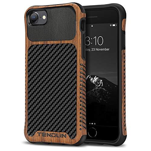 TENDLIN Cover iPhone SE 2020 / Cover iPhone 7 / Cover iPhone 8 Legno e Pelle di Carbonio Ibrida Custodia Compatibile con iPhone SE 2020 e iPhone 7/8