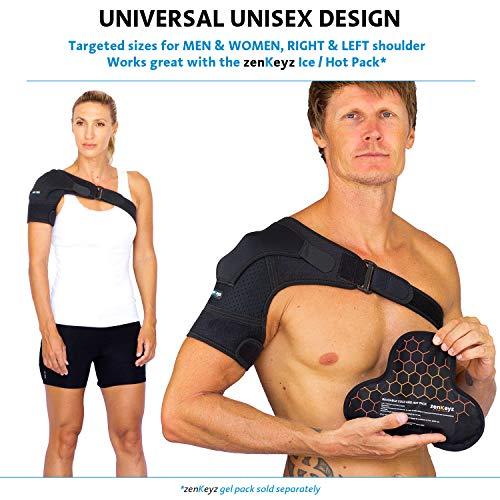Shoulder Brace for Men Women - for Torn Rotator Cuff Support,Tendonitis, Dislocation, Bursitis, Neoprene Shoulder Compression Sleeve Wrap by ZENKEYZ (Black, Large/XLarge)