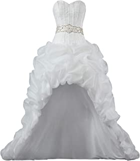 Women's Strapless Organza High Low Wedding Dresses for Bride