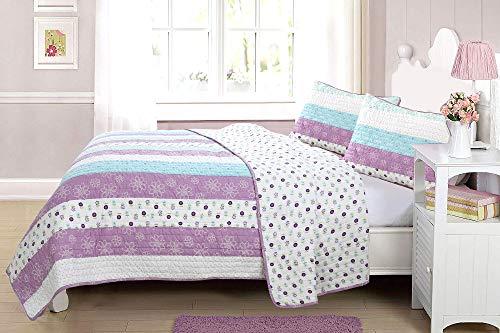 Cozy Line Home Fashions Penny Lane Purple Blue Stripe Flower Print 100% Cotton Reversible Bedding Quilt Set (Purple Floral, Full/Queen - 3 Piece)