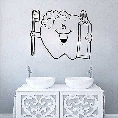 wZUN Calcomanía de Pared de clínica Dental, póster de Vinilo, calcomanía de Pared, Mural Decorativo, ortodoncia, Cepillado Dental, 63X52cm
