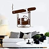 JXNY Date Creative Vinyle Stickers Whiskey en Verre Cigare Barre d'alcool Hommes Style Chambre Stickers Muraux Art Chambres Home...