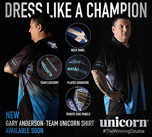Unicorn Gary Anderson World Champion Dart-Shirt, Größe S, 106,7-111,8 cm
